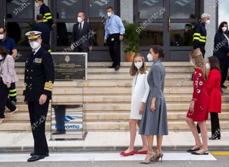 Stock Picture of (L-R) Spain's King Felipe VI, Crown Princess Leonor, Queen Letizia, Princess Sofia, and Spanish Defense Minister, Margarita Robles, arrive the Navantia shipyard shortly before the launching ceremony of the Spanish Navy's new 'Isaac Peral S-81' submarine at the Spanish navy base in Cartagena, southeastern Spain, 22 April 2021. Princess Leonor is to christening the vessel.