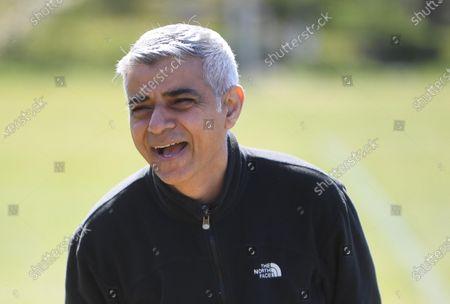 Mayor Sadiq Khan plays football with Hackney Wick FC, London