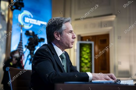 Secretary of State Tony Blinken speaks during a virtual Leaders Summit on Climate, in the East Room of the White House in Washington DC, on Thursday, April 22, 2021.