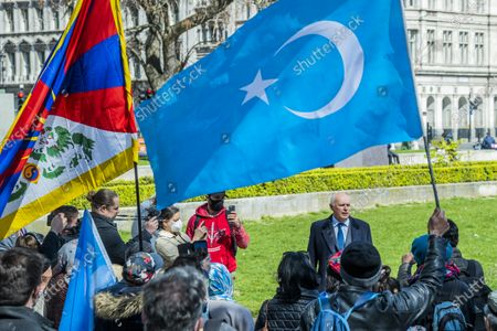 Editorial image of Protest outside Parliament in support of Uyghur Muslims as a motion is debated inside., Parliament Square, London, UK - 22 Apr 2021