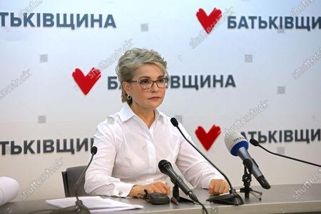Batkivshchyna leader Yulia Tymoshenko holds a news conference, Kyiv, capital of Ukraine.