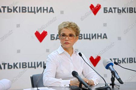 Stock Photo of Batkivshchyna leader Yulia Tymoshenko holds a news conference, Kyiv, capital of Ukraine.