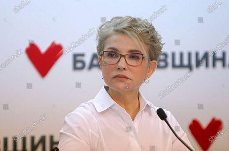 Stock Image of Batkivshchyna leader Yulia Tymoshenko holds a news conference, Kyiv, capital of Ukraine.