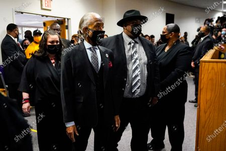 Rev. Al Sharpton enters the funeral services of Daunte Wright at Shiloh Temple International Ministries in Minneapolis, . Wright, 20, was fatally shot by a Brooklyn Center, Minn., police officer during a traffic stop