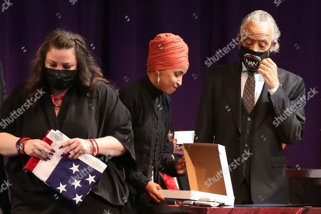 Katie Wright, Ilhan Omar and Reverend Al Sharpton