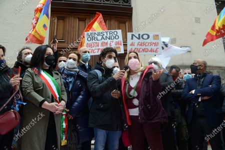 Stock Image of The demonstrators ask to be received by Minister Giancarlo Giorgetti