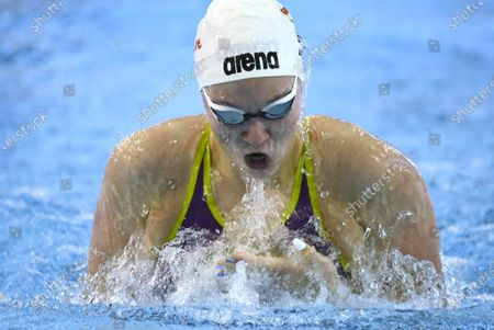 Three-times olympic winner Katinka Hosszu of Hungary in action during women's 100 metres breaststroke during the Helsinki Swim Meet competition in Helsinki, Finland on Thursday, 22nd April, 2021.
