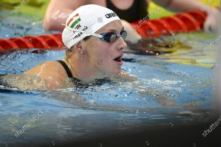 Three-times olympic winner Katinka Hosszu of Hungary in action during women's 100 metres butterfly during the Helsinki Swim Meet competition in Helsinki, Finland on Thursday, 22nd April, 2021.