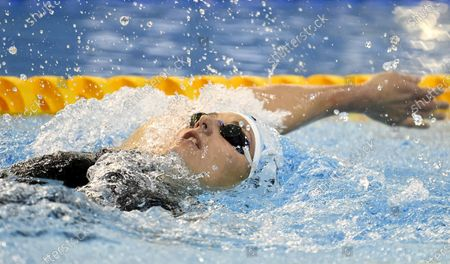 Stock Photo of Three-times olympic winner Katinka Hosszu of Hungary in action during women's 200 metres backstroke during the Helsinki Swim Meet competition in Helsinki, Finland on Thursday, 22nd April, 2021.