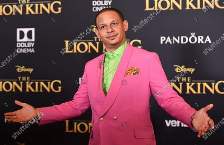 """Eric Andre arrives at the world premiere of """"The Lion King"""" in Los Angeles on July 9, 2019. Andre told his 700,000-plus Twitter followers, that he believed he had been racially profiled when officers pulled him aside in a terminal at Hartsfield-Jackson Atlanta International Airport and asked to search him for drugs. He says he was the only person of color in line to board at the time. The Clayton County Police Department denies any wrongdoing"""