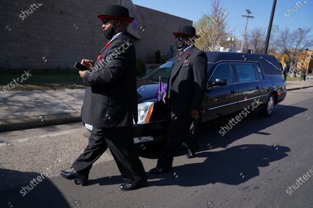 Funeral services were held for Daunte Wright, the Black motorist fatally shot by a Minnesota police officer this month during an arrest attempt, on Thursday, April 22, 2021. Civil rights leader the Rev. Al Sharpton is due to eulogize Wright during a funeral that sets up another emotional day for a metro area scarred by several high-profile killings involving police. (Jason Armond / Los Angeles Times)