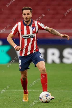 Saul Niguez of Atletico Madrid in action during the La Liga Santander match between Atletico de Madrid and SD Huesca at Estadio Wanda Metropolitano on April 22, 2021 in Madrid, Spain. Sporting stadiums around the Spain remain under strict restrictions due to the Coronavirus Pandemic as Government social distancing laws prohibit fans inside venues resulting in games being played behind closed doors.
