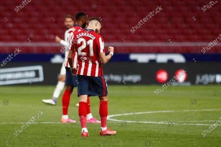 Yannick Carrasco of Atletico de Madrid celebrates a goal during the spanish league, La Liga, football match played between Atletico de Madrid and SD Huesca at Wanda Metropolitano stadium on April 22, 2021, in Madrid, Spain.