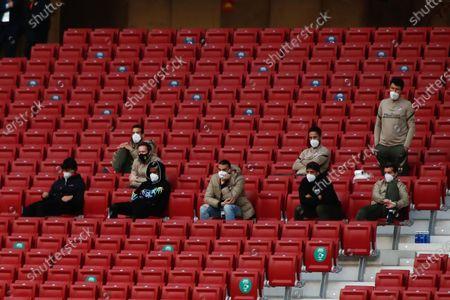 Joao Felix, Thomas Lemar, Mario Hermoso and Luis Suarez of Atletico de Madrid are seen in stands during the spanish league, La Liga, football match played between Atletico de Madrid and SD Huesca at Wanda Metropolitano stadium on April 22, 2021, in Madrid, Spain.