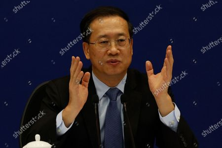 Stock Photo of Ma Zhaoxu, Chinese Vice Minister of Foreign Affairs, talks about the Chinese President's attendance of the Leaders Summit on Climate during a press briefing at the Chinese Foreign Ministry in Beijing on . U.S. President Joe Biden convened leaders of the world's most powerful countries on Thursday to try to spur global efforts against climate change, drawing commitments from Chinese President Xi Jinping and Russian President Vladimir Putin to cooperate on cutting emissions despite their own sharp rivalries with the United States