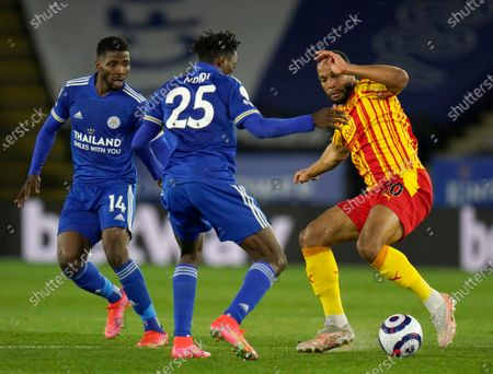 West Bromwich Albion's Matt Phillips, right, duels for the ball with Leicester's Wilfred Ndidi, center, and Leicester's Kelechi Iheanacho during the English Premier League soccer match between Leicester City and West Bromwich Albion at the King Power Stadium in Leicester, England