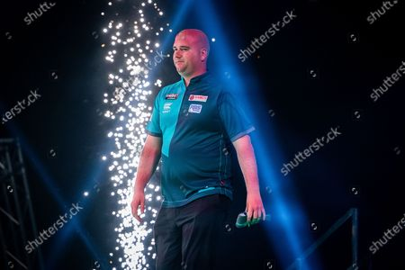 Stock Picture of Rob Cross (England) walk-on during the Unibet Premier League Darts Night Nine at Marshall Arena, Milton Keynes