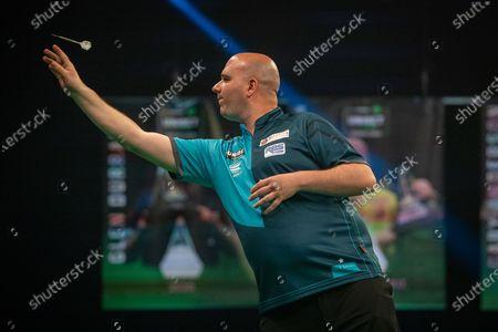 Stock Photo of Rob Cross (England) during the Betway Premier League Darts Night Nine at Marshall Arena, Milton Keynes