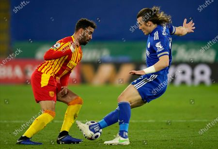 Stock Image of West Bromwich Albion's Hal Robson-Kanu (L) in action with Leicester's Caglar Soyuncu (R)  during the English Premier League soccer match between Leicester City and West Bromwich Albion in Leicester, Britain, 22 April 2021.