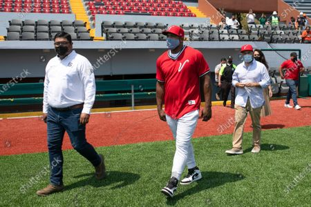 Stock Image of Cuban baseball player Yasiel Puig, who signed with El Aguila de Veracruz, arrives for a media presentation in Veracruz, Mexico, . The 30-year-old player will join the team in the Mexican League's next season