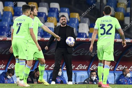 Napoli's head coach Gennaro Gattuso during the Italian Serie A soccer match SSC Napoli vs SS Lazio at the Diego Armando Maradona stadium in Naples, Italy, 22 April 2021.