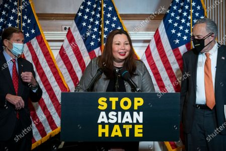 United States Senator Tammy Duckworth (Democrat of Illinois) offers remarks during a press conference following Senate passage of the COVID-19 Hate Crimes Act at the US Capitol in Washington, DC,.