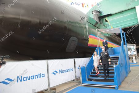 """King Felipe VI of Spain and Queen Letizia of Spain accompanied by their daughters the Princess of Asturias Leonor and the Princess Sofía arrived at the Navantia shipyard facilities in Cartagena, where they discovered a plaque commemorating the sight and talked with the workers participating in the construction of Submarine S-81 """" Isaac Peral """". Princess of Asturias Leonor bless the launch of the submarine"""