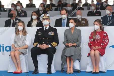 """Stock Picture of King Felipe VI of Spain and Queen Letizia of Spain accompanied by their daughters the Princess of Asturias Leonor and the Princess Sof?a arrived at the Navantia shipyard facilities in Cartagena, where they discovered a plaque commemorating the sight and talked with the workers participating in the construction of Submarine S-81 """" Isaac Peral ?. Princess of Asturias Leonor bless the launch of the submarine"""