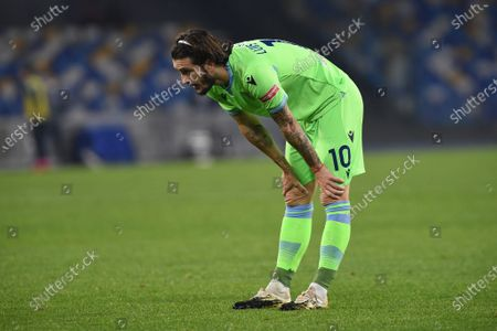 Luis Alberto of SS Lazio looks Dejected during the Serie A match between SSC Napoli and SS Lazio at Stadio Diego Armando Maradona Naples Italy on 22 April 2021.