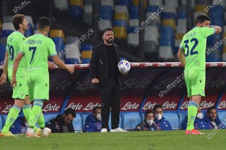 Gennaro Gattuso Head Coach of SSC Napoli during the Serie A match between SSC Napoli and SS Lazio at Stadio Diego Armando Maradona Naples Italy on 22 April 2021.