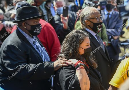 Daunte Wright's parents Aubrey Wright (L), Katie Wright (C) and Rev. Al Sharpton (R) leave the funeral at Shiloh Temple International Ministries in Minneapolis, Minnesota, USA, 22 April 2021. On 11 April 2021, Daunte Demetrius Wright, 20, was fatally shot by police officer Kimberly Ann Potter in Brooklyn Center, Minnesota during a traffic stop.