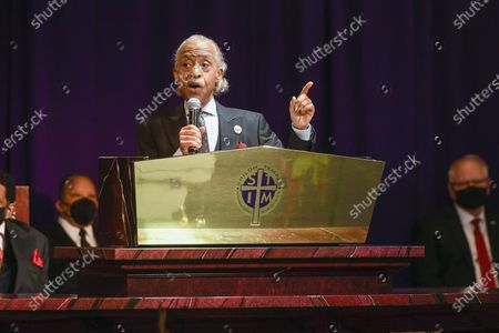 Rev. Al Sharpton gives the eulogy for Daunte Wright at the  Shiloh Temple International Ministries in Minneapolis, Minnesota, USA, 22 April 2021. On 11 April 2021, Daunte Demetrius Wright, 20, was fatally shot by police officer Kimberly Ann Potter in Brooklyn Center, Minnesota during a traffic stop.