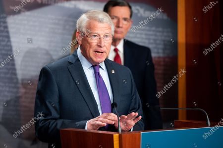 U.S. Senator Roger Wicker (R-MS) speaks at a press conference about the introduction of a Republican infrastructure proposal.