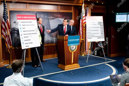 U.S. Senator John Barrasso (R-WY) speaks at a press conference about the introduction of a Republican infrastructure proposal.