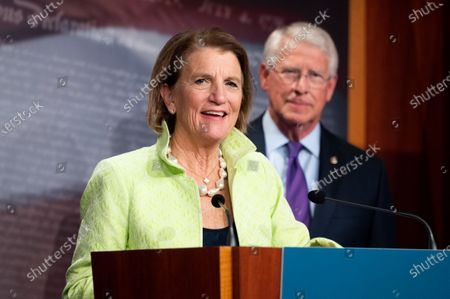 Stock Picture of U.S. Senator Shelley Moore Capito (R-WV) speaks at a press conference about the introduction of a Republican infrastructure proposal.