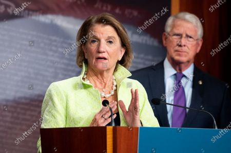 U.S. Senator Shelley Moore Capito (R-WV) speaks at a press conference about the introduction of a Republican infrastructure proposal.