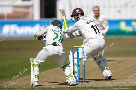 Stock Image of 50 - Steven Davies moves to 50 off Callum Parkinson during Day 2 the LV= Insurance County Championship match between Leicestershire County Cricket Club and Somerset County Cricket Club at the Uptonsteel County Ground, Leicester