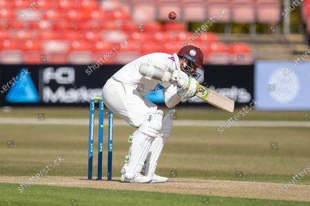 Steven Davies ducks a bouncer during Day 2 the LV= Insurance County Championship match between Leicestershire County Cricket Club and Somerset County Cricket Club at the Uptonsteel County Ground, Leicester