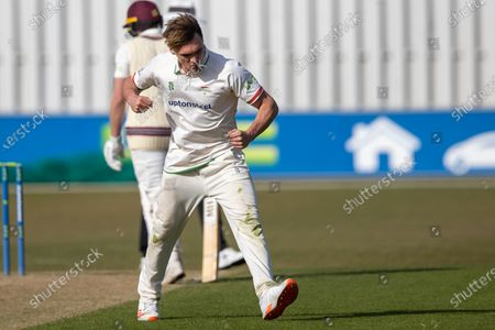 WICKET Gavin Griffiths celebrates the wicket of Steven Davies during Day 2 the LV= Insurance County Championship match between Leicestershire County Cricket Club and Somerset County Cricket Club at the Uptonsteel County Ground, Leicester