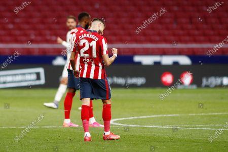 Yannick Carrasco of Atletico de Madrid celebrates a goal