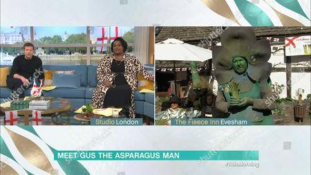 Dermot O'Leary, Alison Hammond and Gus The Asparagus Man