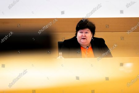 Former healthcare minister Maggie De Block of Open Vld pictured during a session of the special chamber commission to examine the management of the Covid-19 crisis, at the federal parliament in Brussels, Friday 23 April 2021.