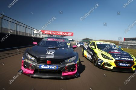 Stock Photo of SILVERSTONE CIRCUIT, UNITED KINGDOM - APRIL 22: Jade Edwards (GBR) - BTC Racing Honda Civic Type R and Rick Parfitt Jr (GBR) - Excelr8 Trade Price Cars Hyundai i30 Fastback N Performance during the BTCC Silverstone Media Day at Silverstone Circuit on April 22, 2021 in Silverstone Circuit, United Kingdom. (Photo by LAT Images)