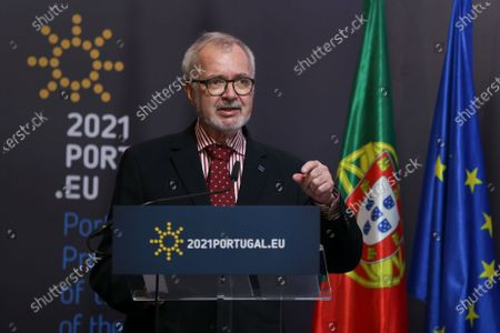 President of European Investment Bank (EIB) Werner Hoyer and Portuguese Foreign Minister Augusto Santos Silva (not pictured) attend a press conference after the European Union-Africa High-Level Green Investment Forum, a joint organization of the Portuguese Presidency of the Council of the European Union (EU) and the European Investment Bank (EIB), under the theme 'The Green Future of Africa: New investment paths for sustainable and inclusive development', after a month of dialogue between African and European countries on green transition and investment, in which 25 virtual conferences (Green Talks) were held in various capitals of the two continents, under the Portuguese Presidency of the Council of the EU, in Lisbon, Portugal, 23 April 2021. The forum brings together representatives from government and business, international finance and development institutions, civil society, and academia, bringing together different perspectives on sustainable development and green investment. An opportunity to share experiences and innovative approaches to mobilize private and public capital for the green transition in Africa and Europe, demonstrating how a green and sustainable business model can be profitable, create jobs and wealth, contributing to achieving global climate goals.