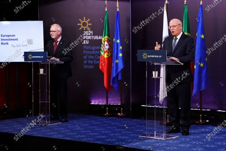 President of European Investment Bank (EIB) Werner Hoyer (L) and Portuguese Foreign Minister Augusto Santos Silva (R) attend a press conference after the European Union-Africa High-Level Green Investment Forum, a joint organization of the Portuguese Presidency of the Council of the European Union (EU) and the European Investment Bank (EIB), under the theme 'The Green Future of Africa: New investment paths for sustainable and inclusive development', after a month of dialogue between African and European countries on green transition and investment, in which 25 virtual conferences (Green Talks) were held in various capitals of the two continents, under the Portuguese Presidency of the Council of the EU, in Lisbon, Portugal, 23 April 2021. The forum brings together representatives from government and business, international finance and development institutions, civil society, and academia, bringing together different perspectives on sustainable development and green investment. An opportunity to share experiences and innovative approaches to mobilize private and public capital for the green transition in Africa and Europe, demonstrating how a green and sustainable business model can be profitable, create jobs and wealth, contributing to achieving global climate goals.