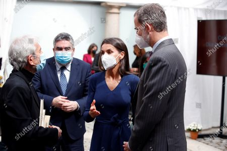 King Felipe VI (R), Queen Letizia of Spain (2-R) and Spanish Minister of Culture and Sports, Jose Manuel Rodriguez Uribes (2-L), chat with Spanish actor Jose Sacristan (L) during an event held on occasion of International Book Day at Cervantes Institute in Madrid, 23 April 2021.
