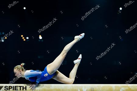 Netherlands' Lieke Wevers performs on the balance beam during the women's all-around final of the 2021 European Artistic Gymnastics Championships in Basel, Switzerland, 23 April 2021.