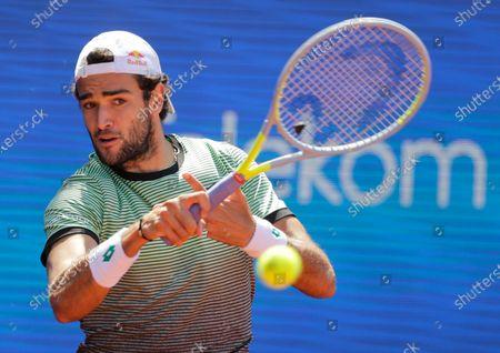 Matteo Berrettini of Italy in action against Filip Krajinovic of Serbia during their quarter final match of the Serbia Open tennis tournament in Belgrade, Serbia, 23 April 2021.