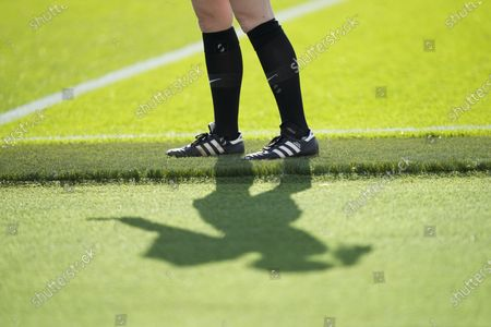 Stock Image of The shadow of lineswoman Sian Massey-Ellis