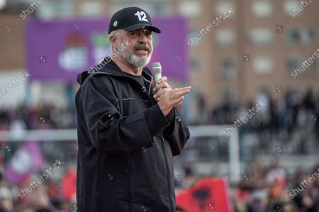 Leader of socialist party Edi Rama holds a speech during a closing political rally in city of Durres, Albania on .Albania holds parliamentary elections on Sunday amid the virus pandemic and a bitter political rivalry between the country's two largest political parties but that will serve as a key milestone in the country's next step toward European Union membership